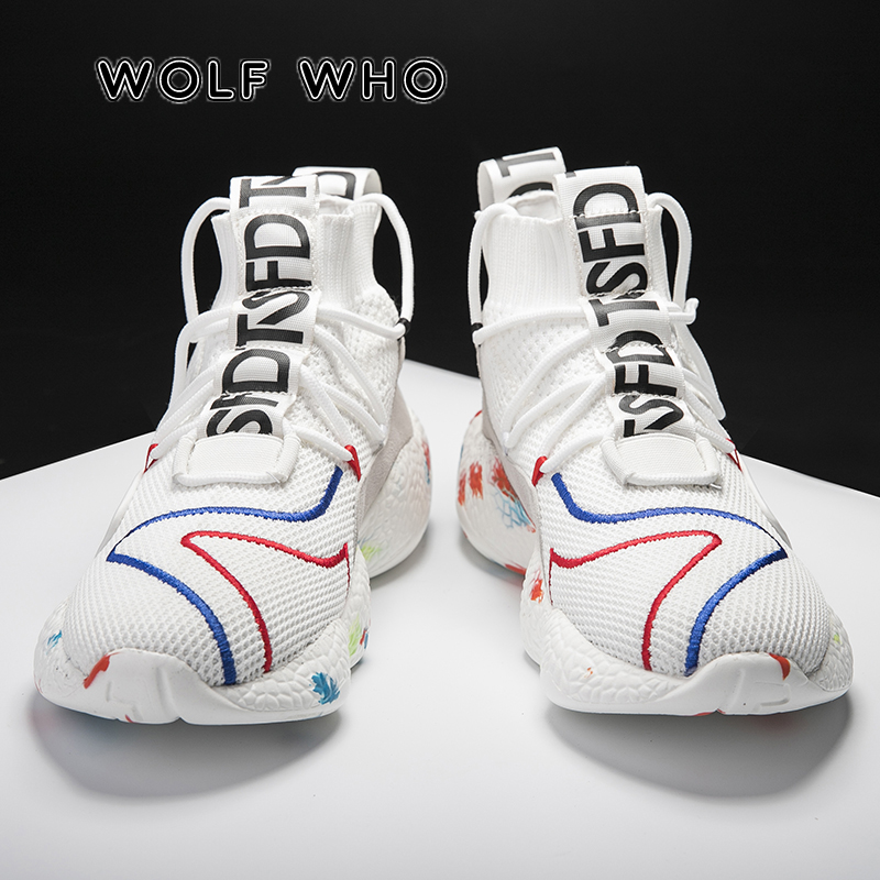 WOLF WHO Men Casual Shoes Fashion Black White Big Size Shoes Male Sneakers Breathable Flat Shoes High Top Outdoor Krasovki A-010