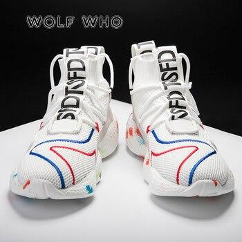 WOLF WHO/мужская повседневная обувь; модная обувь черного и белого цвета; большие размеры; мужские кроссовки; дышащая обувь на плоской подошве; ...