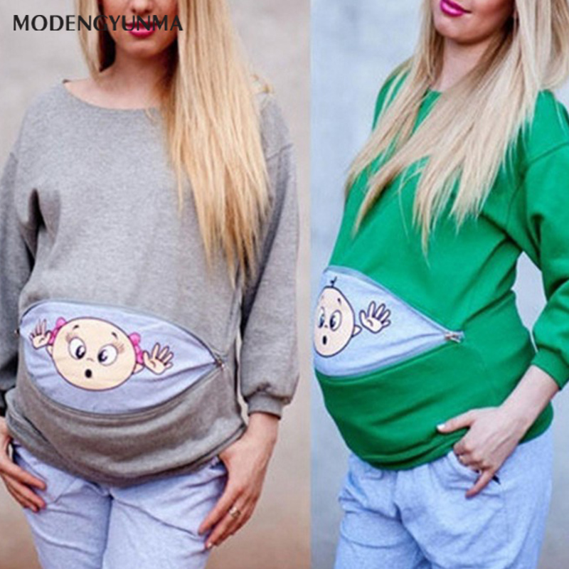 Maternity Clothes Round Neck Female T-shirt Long Sleeve Tops Cotton Funny Pattern Print Pregnant Women Breastfeeding Clothing
