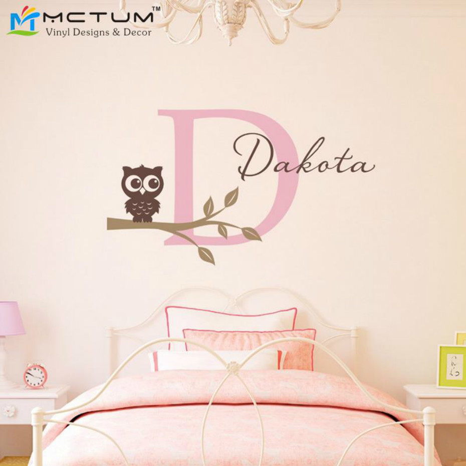 Owl tree branch wall decals personalized initial and name wall stickers for girl nursery home decor