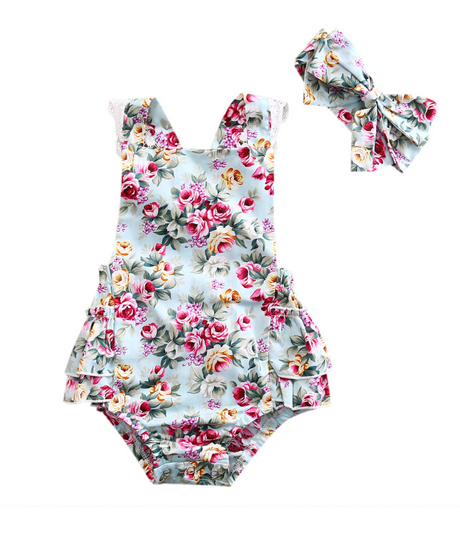 Newborn Cute Kids Baby Girls Floral Bodysuits Headband Outfits Set Clothes Backless Lace Jumpsuit Sunsuit Summer Infant Clothing cute newborn baby girl bodysuit headband outfits floral sunsuit clothes flower infnat toddler girls summer 3pcs set playsuit