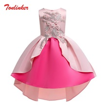 Summer Girls Embroidery Flower Princess Dress Children Tutu Clothing Kids Dresses Wedding Gown