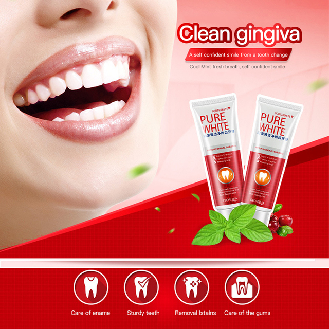 3pcs Bioaqua Herbal Fresh Cranberry Toothpaste Pure White Tooth