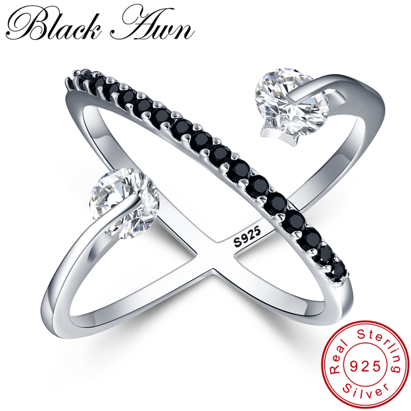 [BLACK AWN] Solid 925 Sterling Silver Rings For Women Black Spinel Elegant Engagement Finger Ring Sterling Silver Jewelry G044