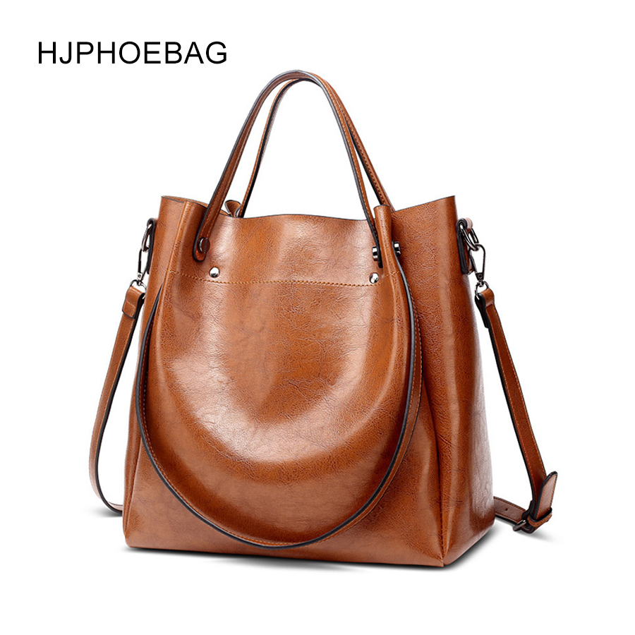 HJPHOEBAG women's bag designer fashion pu leather large size ladies Messenger bag high quality large capacity shoulder bag YC023-in Top-Handle Bags from Luggage & Bags