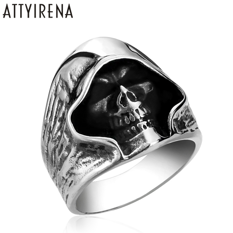 687ff701ab1dde ATTYIRENA Skull Rings Cool Hell Death Skull Man Shape Stainless Steel Ring  Trendy Punk style Individuality Male party