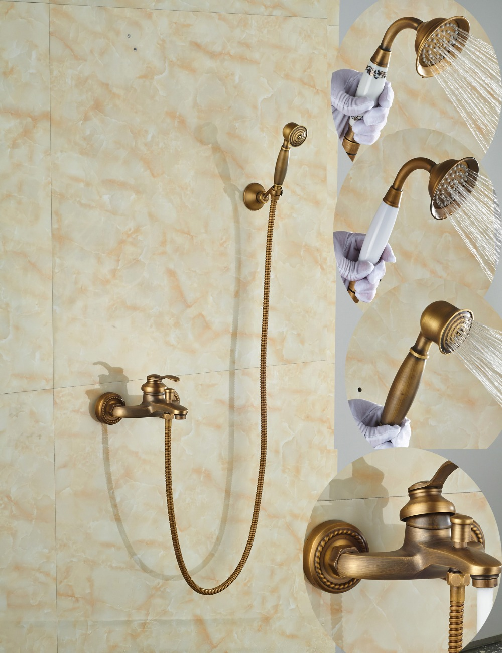 цена на Wholesale And Retail Ceramic Style Antique Brass Bathroom Tub Faucet Single Handle W/ Hand Shower Sprayer Wall Mounted