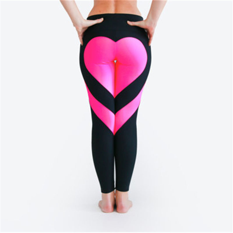 SVOKOR Women'S Leggings Heart Hip Splice Push Up Leggings Sexy Polyester Fitness Legging Breathable Fashion Romantic Leggings