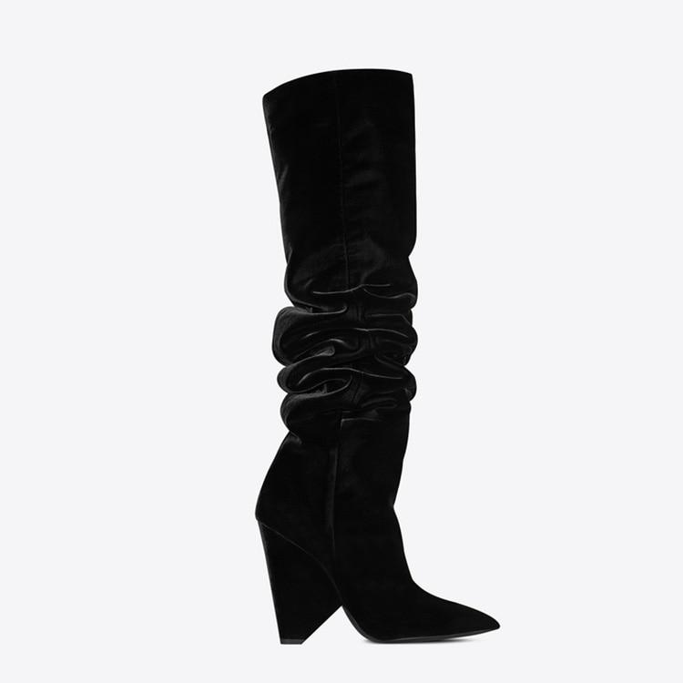 Dames Picture as Eunice Chaussures Slouchy Suede As Haute Bottes Talons On Plissée Genou Automne Solide De Conception Picture Spike Slip En Choo Femmes Cuir qWrqgBxH8w