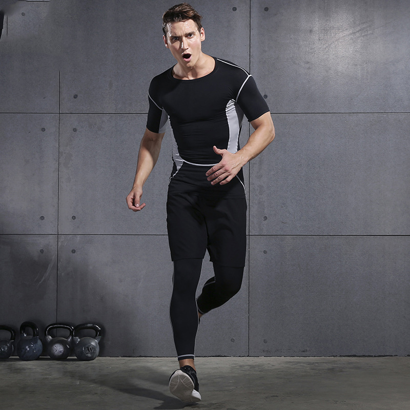 2019 Gym Running Sets Men's Fitness Compression Tights Sportswear Stretchy Training Sports Clothes Jogging Suits 3pcs - 3