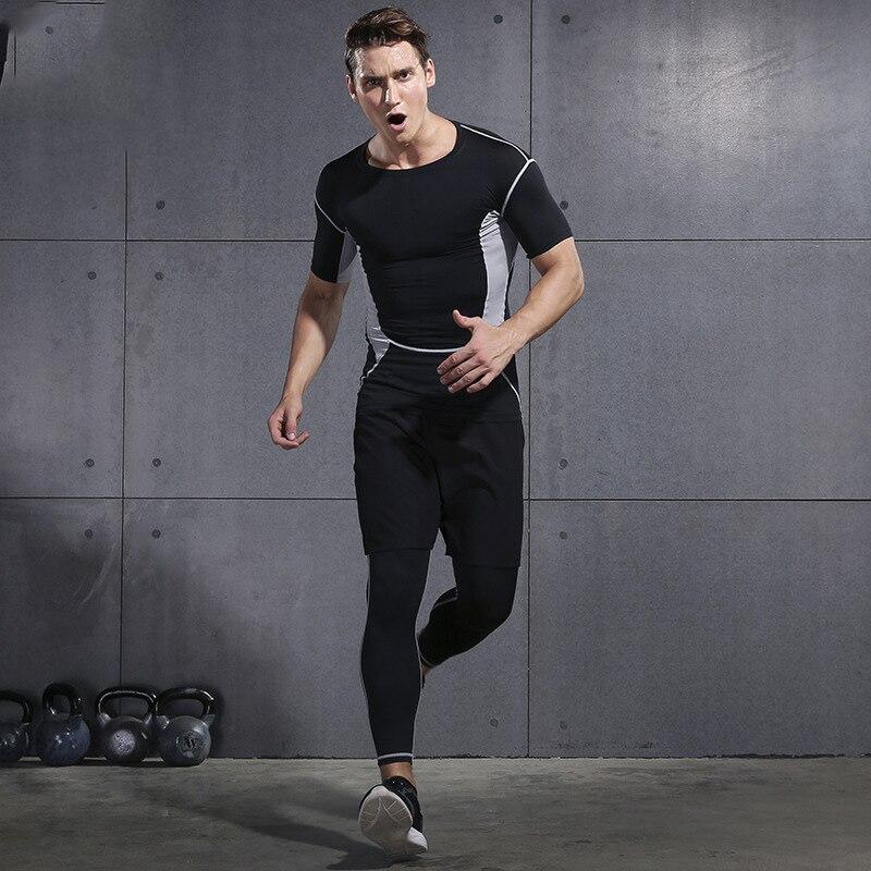 2019 Palestra Set per running di Forma Fisica degli uomini di Compressione Calzamaglie Sportswear Elastico Formazione Vestiti di Sport Tute Da Jogging 3pcs - 3
