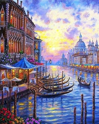 Новый Стиль Венеция 40*50 СМ DIY cuadros раскраски Картина Маслом На Холсте Картинки Живопись По Номерам Украшения Дома венеция YXZ69
