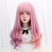 28'' Synthetic Long Wavy Lolita Wigs With Bangs Pink Purple Ombre Cosplay Wigs Lolita Wigs For Women Girls Heat Resistant Friber(China)