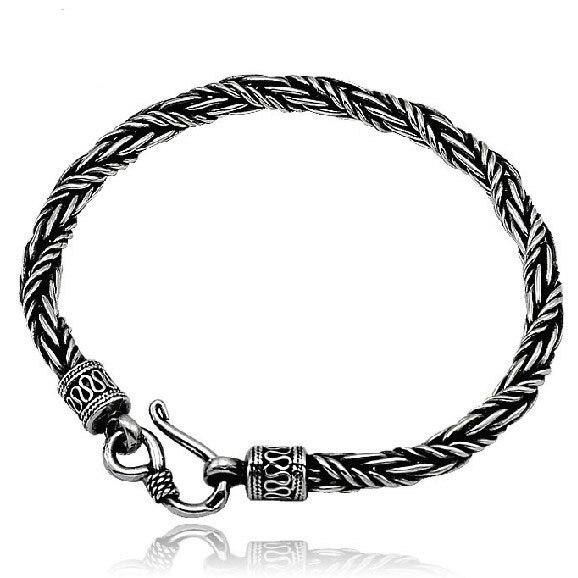 4 MM 5 MM fait à la main thaïlande 925 Siilver Bracelet chanceux longévité Bracelet Vintage pur argent homme Bracelet bijoux cadeau