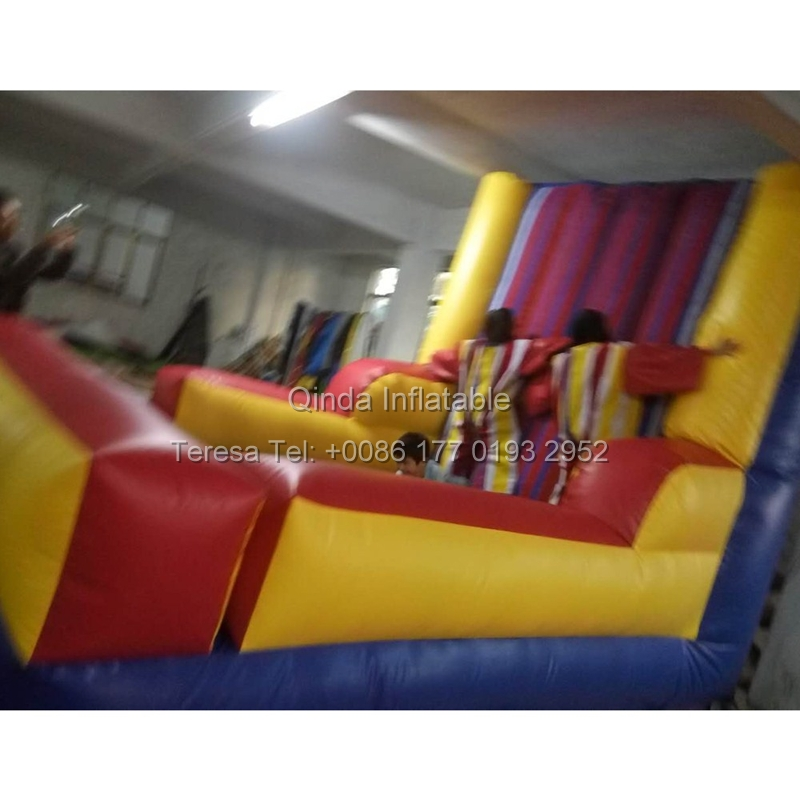 Magic jumping game blow up toys inflatable stick wall bouncy castle velcro wall with suit inflatable velcro wall magic amazing jumping arrow black white