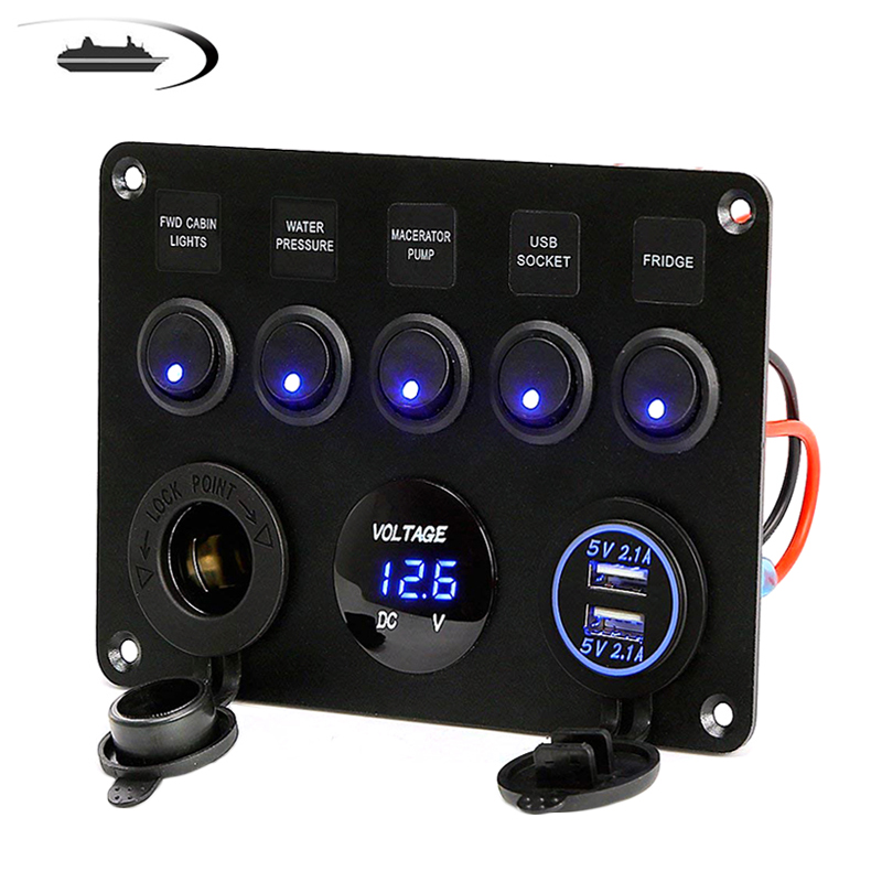 5 Gang LED Car Rocker Switch Panel 12V Power Outlet Dual USB Charger Port Socket 12V for Car Marine Boat Toggle Switch
