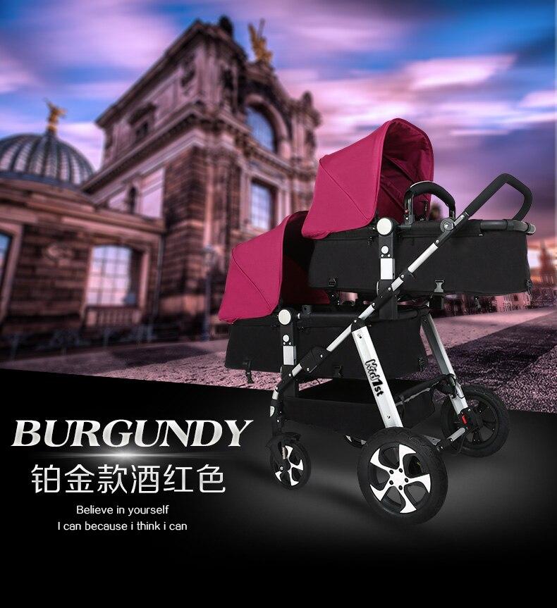 Kds high landscape twin stroller adjustable multi-function folding twin stroller can enter the elevator multi-color optional
