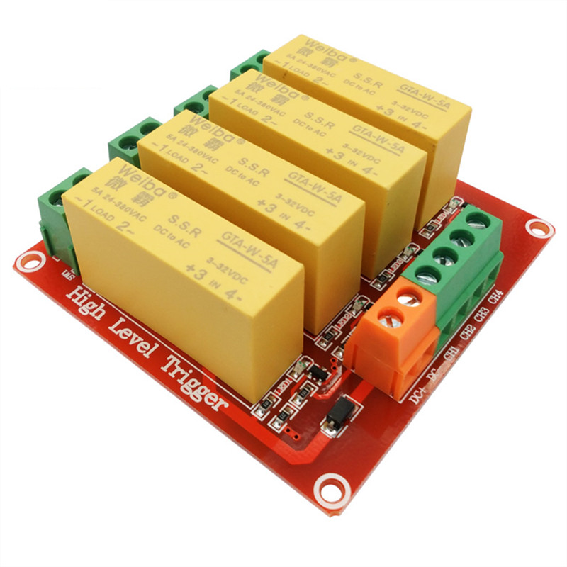 4 channel solid state relay module 5V 12V 24V high level trigger DC control AC load 5A for PLC automation equipment control om zfv sc90 140605 industry industrial use automation plc module p v
