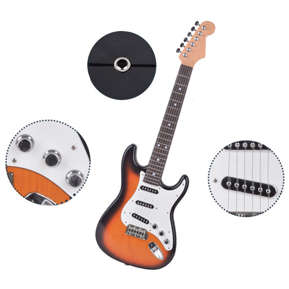 Playable Children's Electric Guitar Toy Simulation Music Instrument 6 strings Guitar for Beginners Kid's Gift Color Box Packing