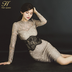Image 5 - H Han Queenผู้หญิงเซ็กซี่ลูกไม้Bodycon Vestidos 2019 Spring Hollow Outดูผ่านชุดดินสอPatchwork Slim Sheathชุด