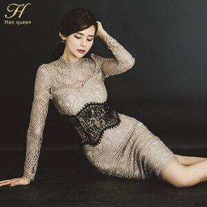 Image 5 - Платье карандаш H Han Queen женское кружевное с отверстиями