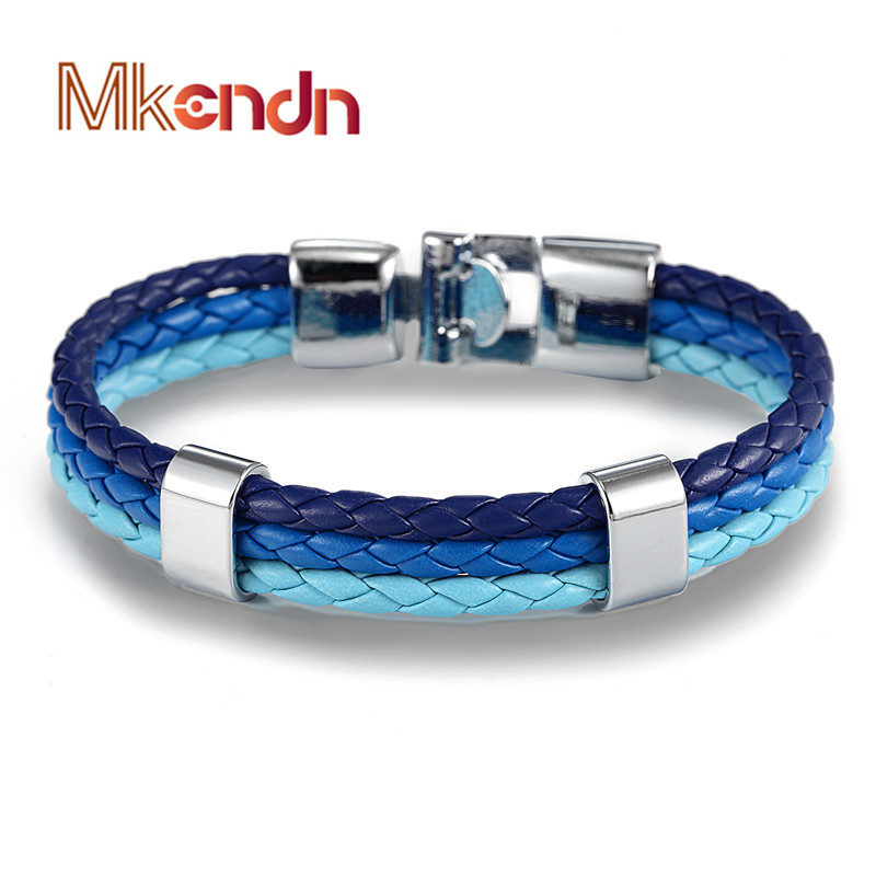MKENDN 2017 Hot sale high quailty Gradient color leather Bracelet Bangle Genuine Leather Hand Chain Buckle friendship men women