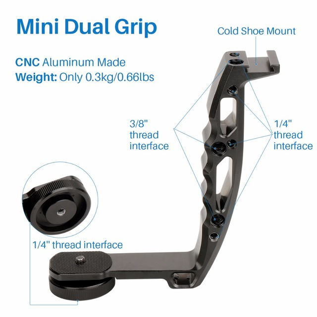 "Gimbal Accessories L Bracket Stand Handle Grip with Hot Shoe 1/4"" Screw for Zhiyun Crane 2 DJI Ronin S Weebill LAB Stabilizer"