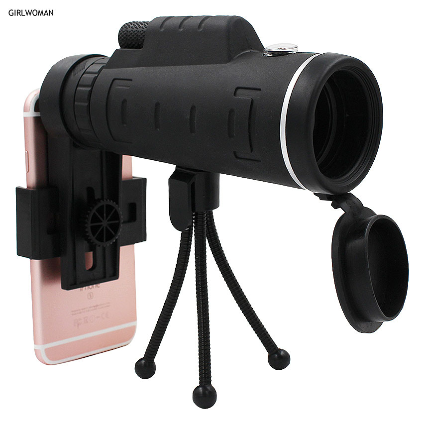 Girlwoman 40X Zoom Monocular Mobile Phone Telescope 40x60 For Iphone Huawei Xiaomi Smartphones Camera lenses Outdoor Hunting