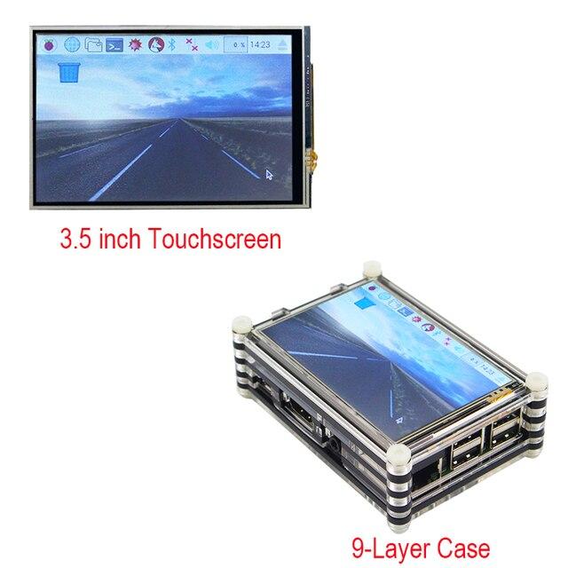 Nuevo Raspberry Pi pantalla táctil de 3,5 pulgadas pantalla LCD + carcasa acrílica negra de 9 capas y kit Raspberry Pi 3 Modelo B