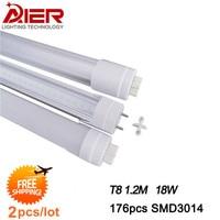 2pcs/lot free shipping led tube t8 1200mm, 18W 96pcs SMD2835, AC85-265V