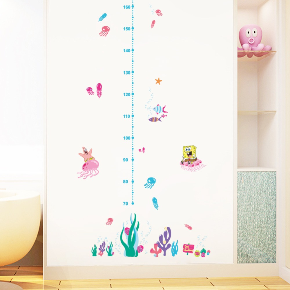 Kids height chart wall sticker home decor cartoon spongebob height kids height chart wall sticker home decor cartoon spongebob height ruler home decoration room decals art poster wallpaper df in wall stickers from home amipublicfo Gallery
