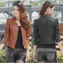 Korean Women PU Leather Clothing BomberJacket Female Slim Motorcycle Leather Coat