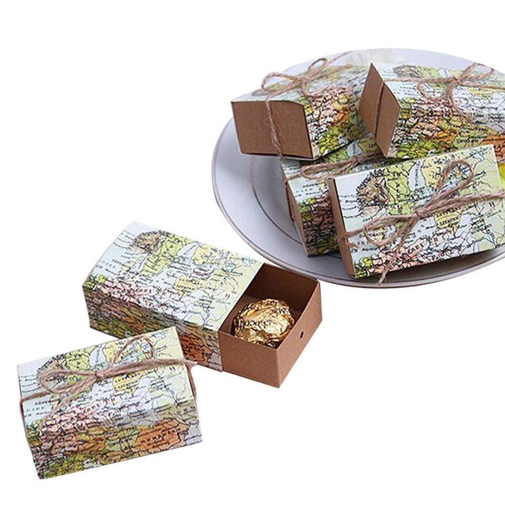 50 Pcs Around the World Map Favor Boxes Vintage Kraft Favor Box Candy Gift bag for Travel Theme Party Wedding Birthday Bridal