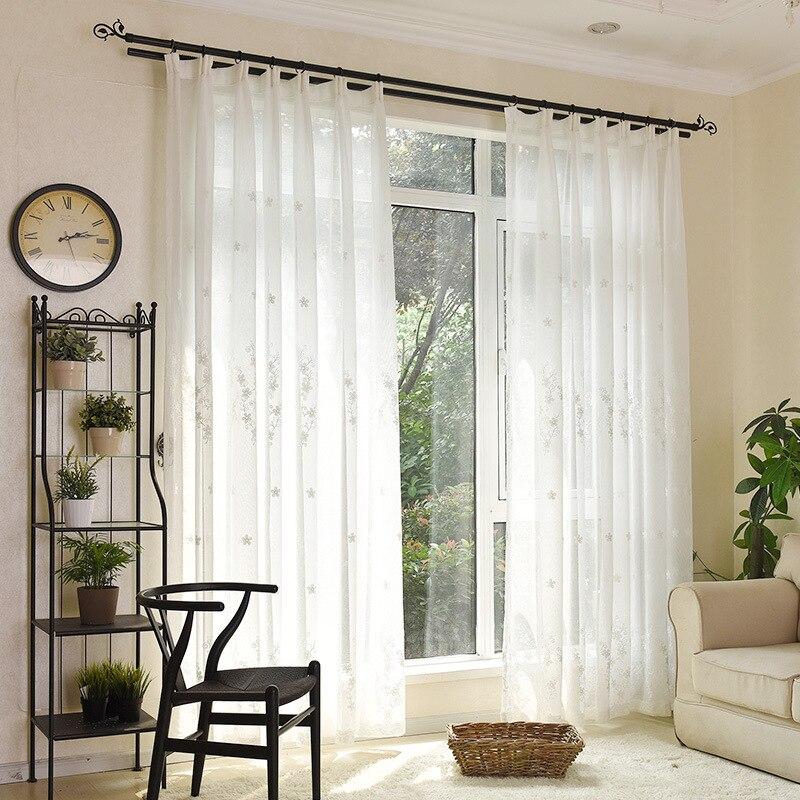 geborduurde gordijnen maat witte kleur damast ontwerp voile raam screening drape haak buis stijl tulle sheer gordijn in geborduurde gordijnen maat witte