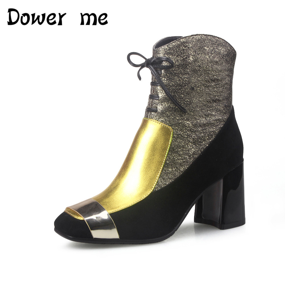 Dower m NEW square toe lace-up genuine leather solid nude women ankle boots thick heel brand women shoes causal motorcycles boot fashion square toe lace up genuine leather solid nude women ankle boots thick heel brand women shoes causal motorcycles boot l74