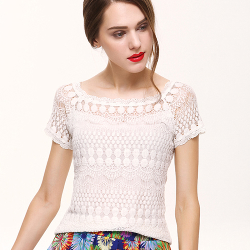2018 Lace   Blouse     Shirt   Summer Women Tops Plus Size Short Sleeve Elegant White   Blouse   Femme Hollow Out Ladies Office   Shirt   Casual