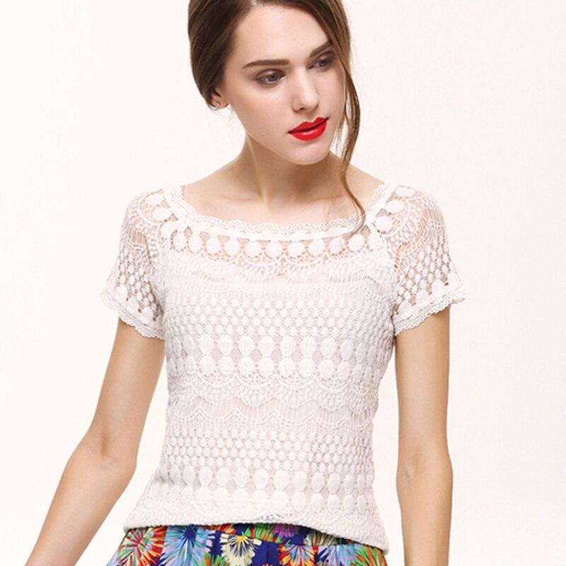 2019 Lace   Blouse     Shirt   Summer Women Tops Plus Size Short Sleeve Elegant White   Blouse   Femme Hollow Out Ladies Office   Shirt   Casual