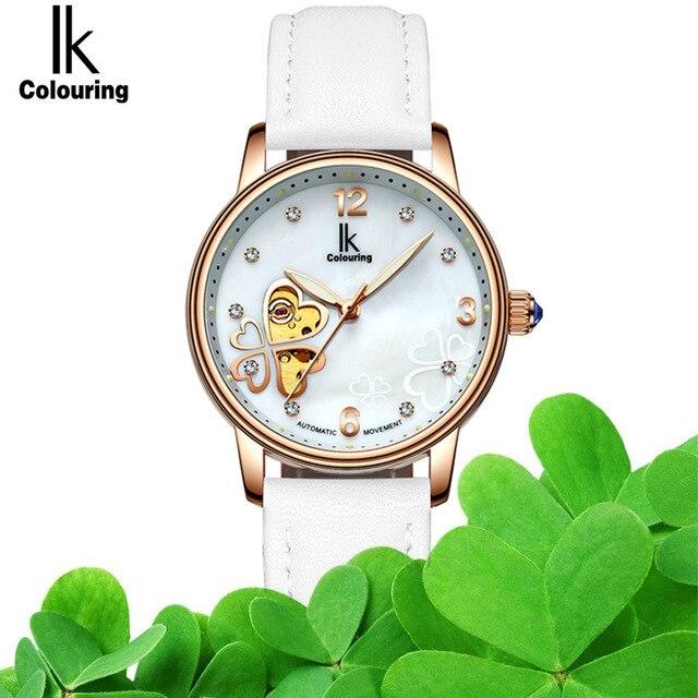 2017 Tops Ladies Mechanical Skeleton Women Watches Lucky OL Genuine Leather Watch Women Dress Clock Hodinky reloj mujer 4497
