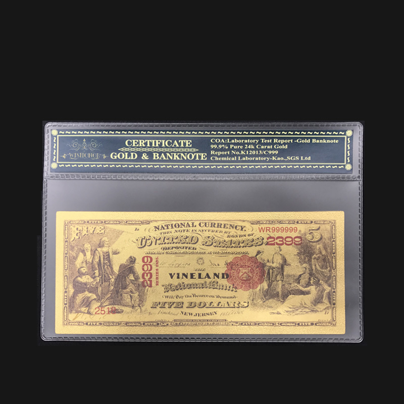 5pcs 1875 Year $50 24k Gold Banknote American World Paper Money Value Collection
