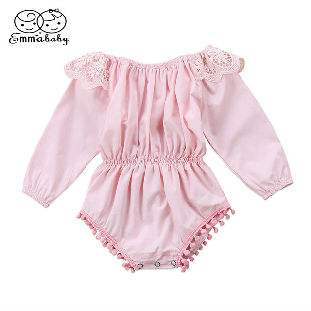 76a6220a3b Lovely Fille Jolie Newborn Kids Baby Girl Clothes Jumpsuit Long Sleeve Cute  Bodysuit Lace Playsuit Babies Solid Color Outfits