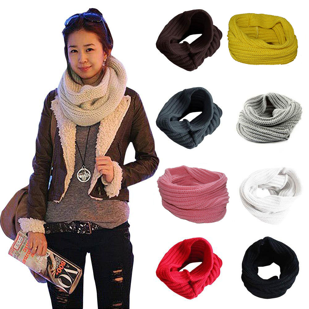 Ladies Girls All-match Winter Warm Knitting Wool Collar Neck Warmer   Scarf   Shawl   Wraps   88 FS99