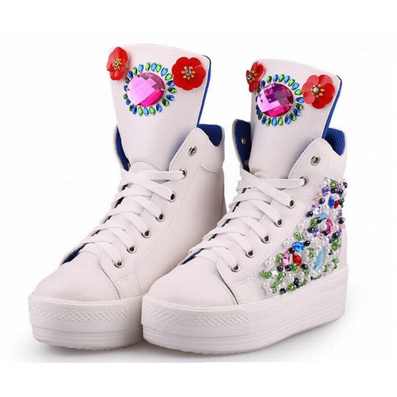 hot new arrival white luxury hand pearl beaded sheepskin lace up high top platform wedges casual shoes rhinestone single boots