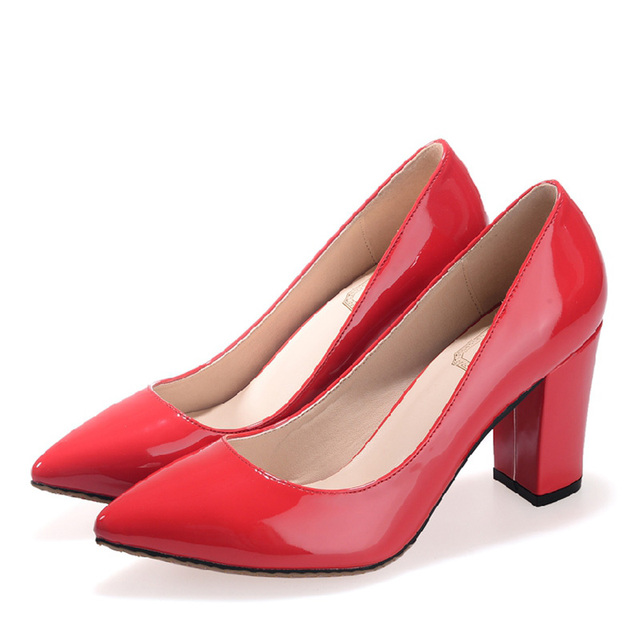 2017 Small Size 31-43 Fashion Red Patent Leather Sexy High Heels Women Pumps Ladies Shoes Woman Chaussure Femme 32 33 34 41 42