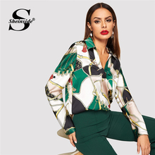 Sheinside Elegant Blouse Women Shirts Equestrian Print Ladies Tops And Blouses 2019 Autumn Shirt V Neck Satin Long Sleeve Top