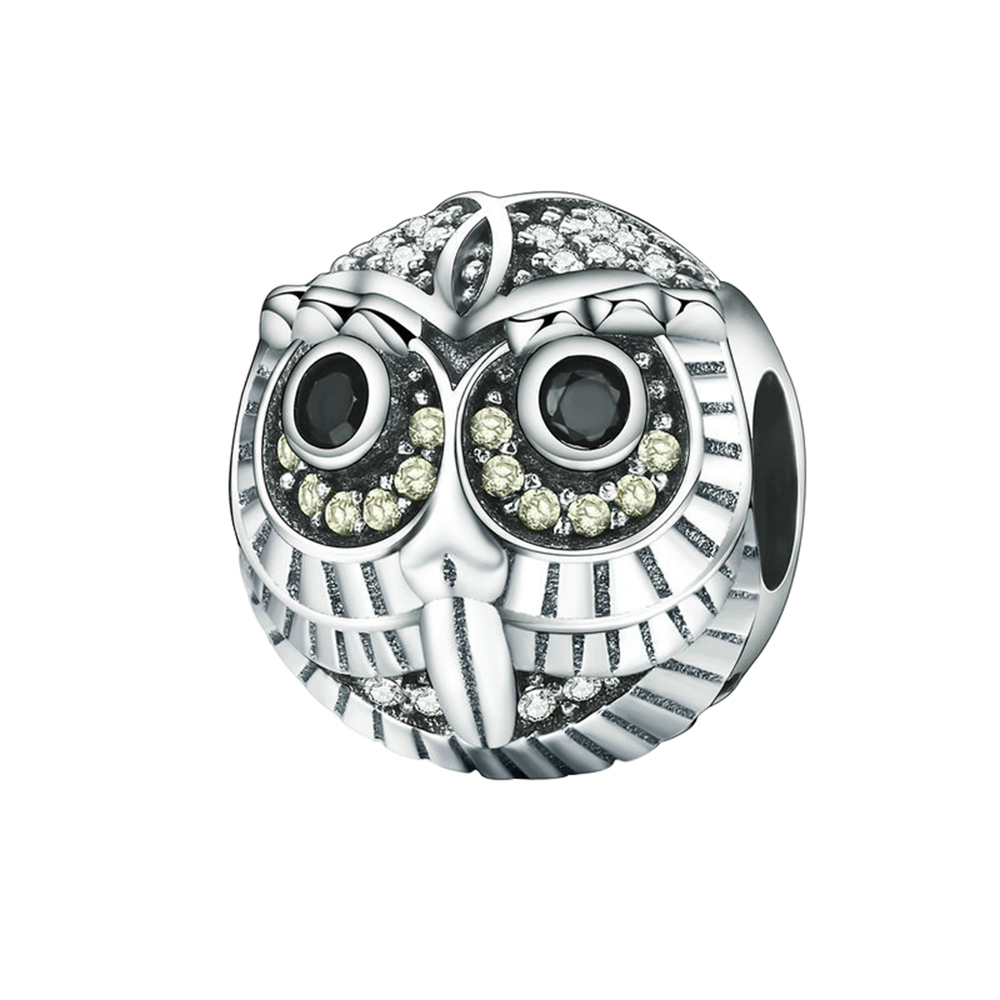 Novelty Popular 925 Sterling Silver Lovely Cute Owl Charms Fashion Lady Gril Bracelet DIY Accessories Jewelry Making Gift 3.7G