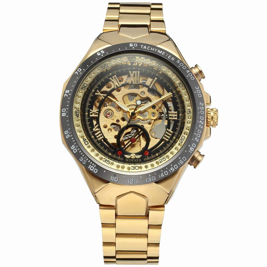 Новое поступление спортивный дизайн ободок золотые часы мужские часы люкс Montre Homme Часы Автоматические самоветер Скелет механические часы