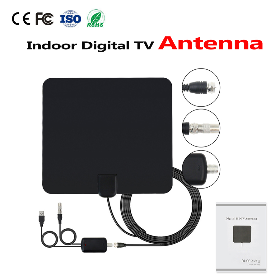 HD Numérique Intérieure Amplifiée Antenne TV-50 Miles Gamme TV ISDB ATSC DVB-T DVB-T2 TV Antenne Intérieure Costume Pour DVB-T2 Sat récepteur