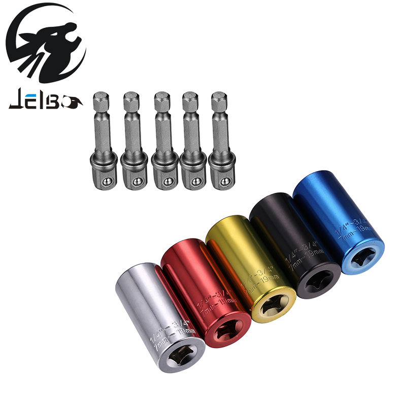 JELBO Multicolor Repair Kit Adaptor Universal Socket Drill Universal Socket Adapter + Electric Drill Adapter Of 2 Pcs/Sets Tools