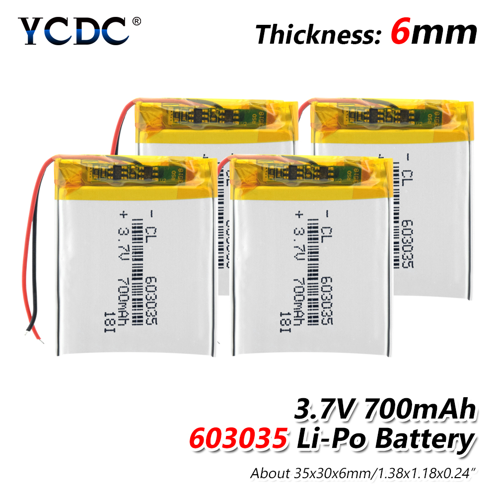 Rechargeable <font><b>3.7V</b></font> <font><b>700mAh</b></font> 603035 <font><b>Battery</b></font> li-ion <font><b>Lipo</b></font> cells Lithium Li-Po Polymer <font><b>Battery</b></font> For MP3 MP4 GPS DVD LED Light Speaker image