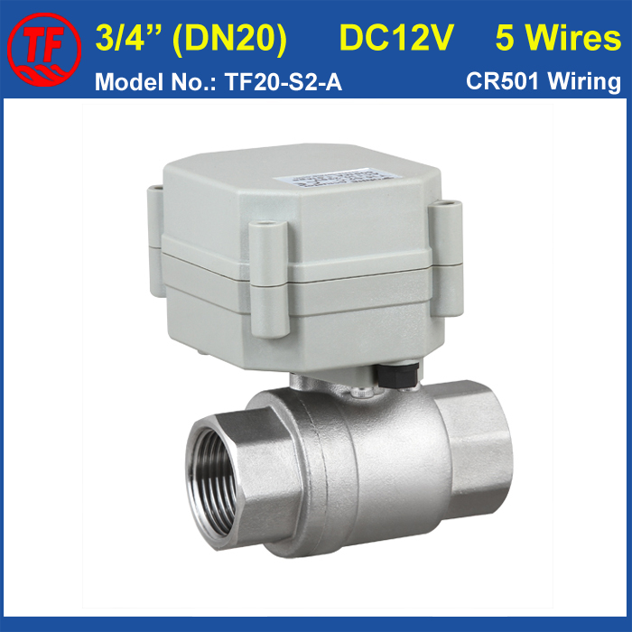 ФОТО TF20-S-A DC12V 5 Wires 2 Way 3/4'' Stainless Steel Electric Shut Off Valve With Signal Feedback DN20 Full Port On/Off 5 Sec CE